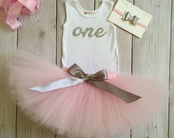 Pink 1st Birthday Dress Tutu Outfit for Baby Girls 1st Birthdays