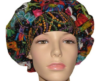 Mardi Gras Masks With Beads-Scrub Cap-Scrub Hat-Bouffant Scrub Hat- Mardi Gras Masks-ScrubHeads-Women's Scrub Hats-Surgical Scrub Hat