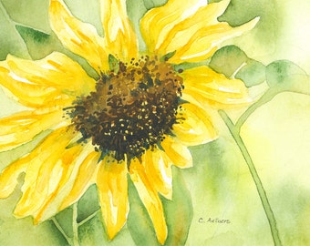 Sunflower Painting - Original  Watercolor Painting for Sale 5 x 7