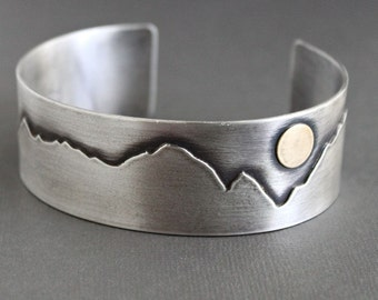 Mens Cuff Bracelet, Mountains Sun, Sterling Silver