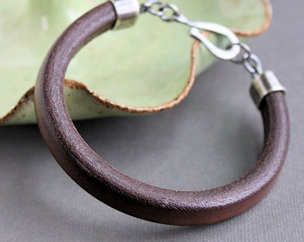 Men's Brown Leather Bracelet, Thick Leather Bracelet Silver Clasp