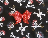 "Custom for Terri - Pirates Dog Scrunchie Collar with red dotted bow - Size S: 12"" to 14"" neck"