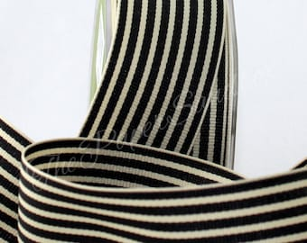 "Black & Ivory Striped Ribbon, 1.5"" wide by the yard, Weddings, Gift Ribbon, Sewing, Invitations, Bouquets, Party Supplies, Home Decor"