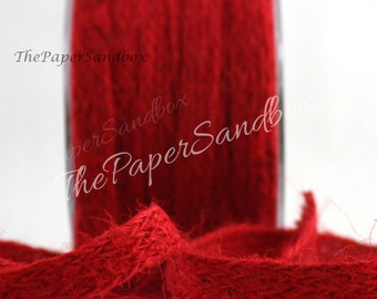"Red Burlap Ribbon, 1/2"" wide, Jute Ribbon by the yard, Christmas Ribbon, Nautical Ribbon, Gift Wrapping, Party & Gifting, Floral Arranging"