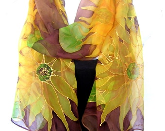 Hand Painted Silk Scarf, Sunflowers, Gold Yellow Brown May Green, Silk Chiffon Scarf, Gift For Her