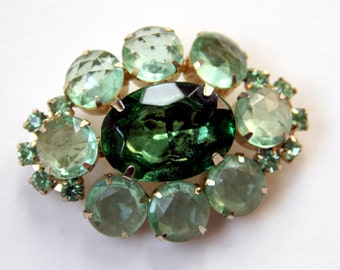 Green Glass and Rhinestone Juliana Sparkler Brooch