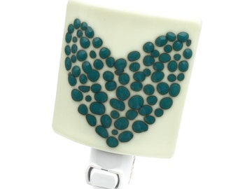 Night Light, Cream Turquoise and Green, Modern Stained Glass