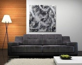 Huge Abstract Painting Original Abstract Painting Loft Modern Black and White Black White Contemporary 36 x 36 x 1.5 Len Dickson