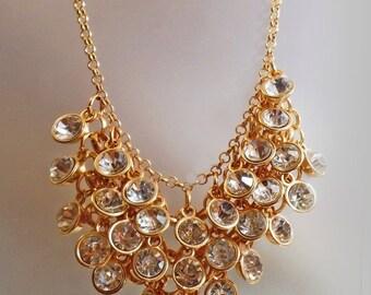 SALE Vintage Dangling Bezel Set Clear Rhinestone Necklace.  Bold Gold Large Rhinestone Bead Necklace.
