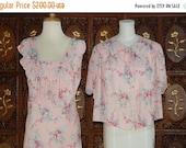ON SALE Vintage 30s-40s   Pink Floral Print  Peignoir Set Sz 40