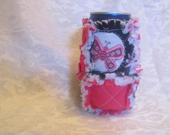 Butterflies and Hot Pink Inspired 12oz Beer/Pop Can Cover/ Cozy / Cozie/ Can Holder/ Rag Quilted