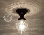 Island Falls. Glass CEILING LIGHT Clear Globe Flush Mount Lighting Fixture by LampGoods