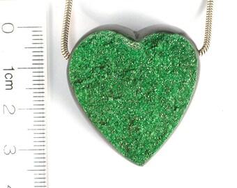 DVH  175ct Uvarovite Garnet Bead Green Druzy Crystal RARE 34x31x15 drusy (7333)