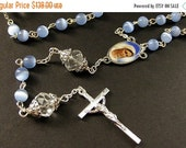 VALENTINE SALE Baby Blue Rosary. Catholic Rosary with Cats Eye Blue Beads and Crystal Paters. Handmade Rosaries.