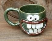 Green Pottery Coffee Cup. Cheerful Hamburger Lover Mug. Beer Stein. Green Microwave Dishwasher Safe Pottery Clay Coffee Cup. Ug Chug Mugs