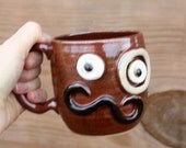 Mans VALENTINES DAY Mug. Monocle and Mustache Coffee Cup. Handmade Stoneware Pottery Red Brown Coffee Mug. Unique Fun Gifts for Husband Guy.