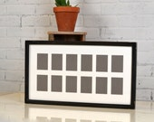 """11.5x21"""" Picture Frame with Mat Window Openings for (12) 2.5 x 3.5"""" Wallet Size Photos with Vintage Black Finish - IN STOCK - Same Day Ship"""