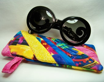Quilted Sunglass Case - Fantasia #1 - Eyeglass Case - Quilted Case - One of a Kind - Ready to Ship