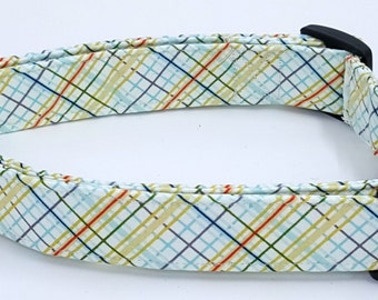 Offshore Plaid Dog Collar Tan Blue Orange and Green