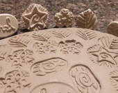 Set of 8 New BISQUE texture STAMPS for CLAY, pmc, fimo, and more!