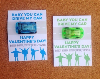 Car Toy Valentine Printable - The Beatles, Sugar Free, 4 colors