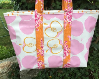 An apple for the girly teacher large oilcloth tote bag