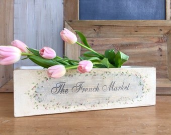 French Market Hand Painted Wood Box Flower Box Planter Storage Box Floral Garland Design