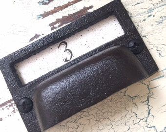 """Vintage Style Drawer Pull with Card Holder Black Iron for Farmhouse or Industrial Home Decor Projects 3"""""""