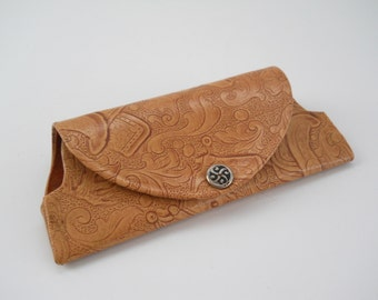 Vintage Eyeglass Case • Faux Tooled Leather Western Cowboy Eyeglass Case • Mid Century Vintage Eyeglass Case