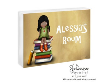 African American Girls Room door Sign Personalized Door Plaque Room Decoration Custom Name Wall sign Custom hair skin color Artwork for Kids