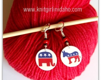 US Presidential Election Political Party Republican Democratic Stitch Markers (Set of 2)