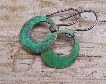 Spring Green Copper Earrings