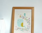 Poster for kids room, sweet owl and birds illustration, print illustrated poster for home - animal illustration size A4