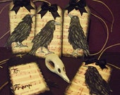 Goth Gift Tags, Raven, Gothic wrapping Decorations,  Steampunk  decorations, Black Bird, Eerie Gift Tags, Poe