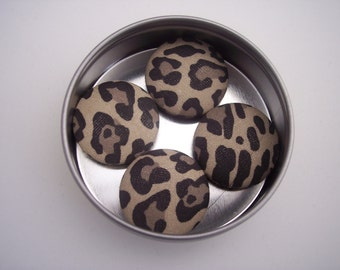 Animal print set of four fabric covered buttons refrigerator magnets in round metal window top tin