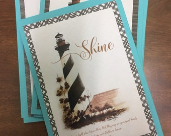 Shine! Art Print Handmade Greeting Card Lighthouse