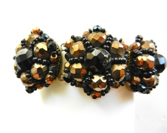 Sumptuous 30s antique golden brown and jet black wired beads cluster links bracelet, glamorous antique mourning jewelry - Art.394/4 --