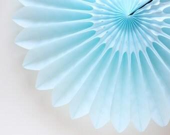 """18"""" Light Blue Flower Fan, Pastel Blue Honeycomb Fan, Pale Blue Tissue Paper Fan, Baby Shower"""