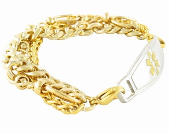 Triple Gold Plated Medical Bracelets with Contempo ID
