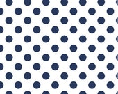 Crib Sheet-Fitted Crib Sheet-Modern White with Navy Polka Dots-Diaper Changing Pad Cover-Mini Crib Sheet-Baby Bedding-Riley Blake Fabric