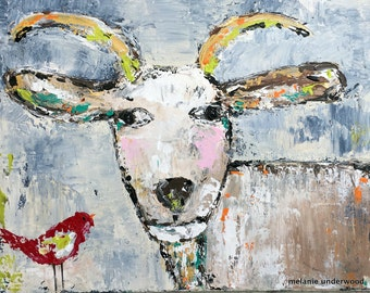 goat art reproduction, canvas giclee reproduction, blues, bird, folk art