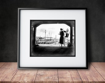 Boston Harbor Artist - Black & White Reproduction of a Vintage Photograph - Mother's Day Gift Idea