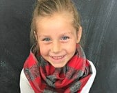 Children's Scarf in Red and Gray Buffalo Plaid