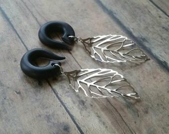 Silver Skeleton Leaf  Gauged Earring Plugs