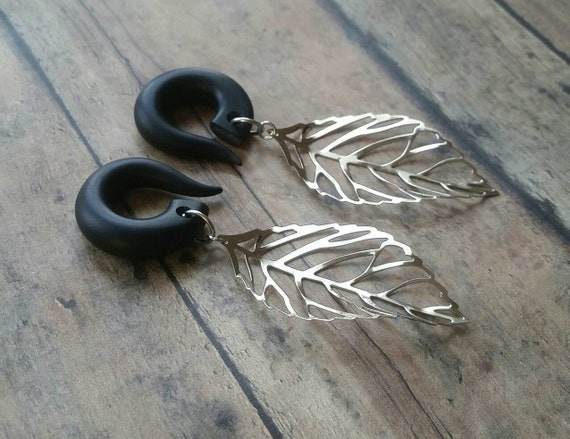 Silver Skeleton Leaf  Gauged Earring Plugs