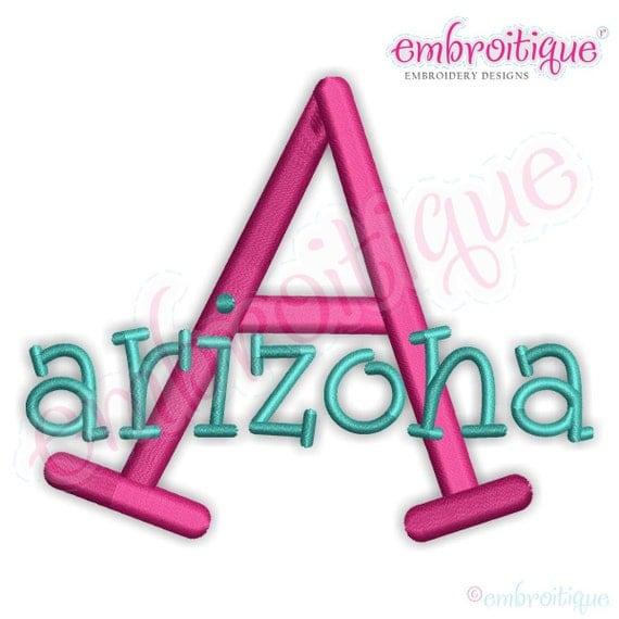 arizona monogram set machine embroidery font alphabet letters
