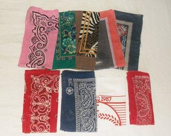 9 vintage SHABBY Bandannas • worn bandana lot