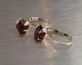 Natural Adirondack Garnet - sterling lever back earrings