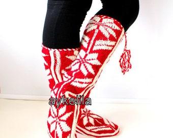 Christmas Gifts, Winter Slippers, Leg Warmers, Cozy Slippers, Wool Socks, Mukluk, Slippers, Aykelila