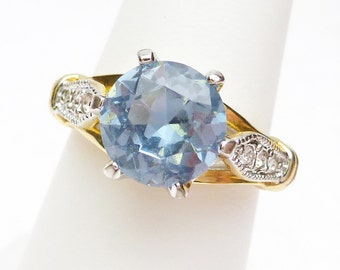 Light Blue with Rhinestones Gold Plated Ring 1960s